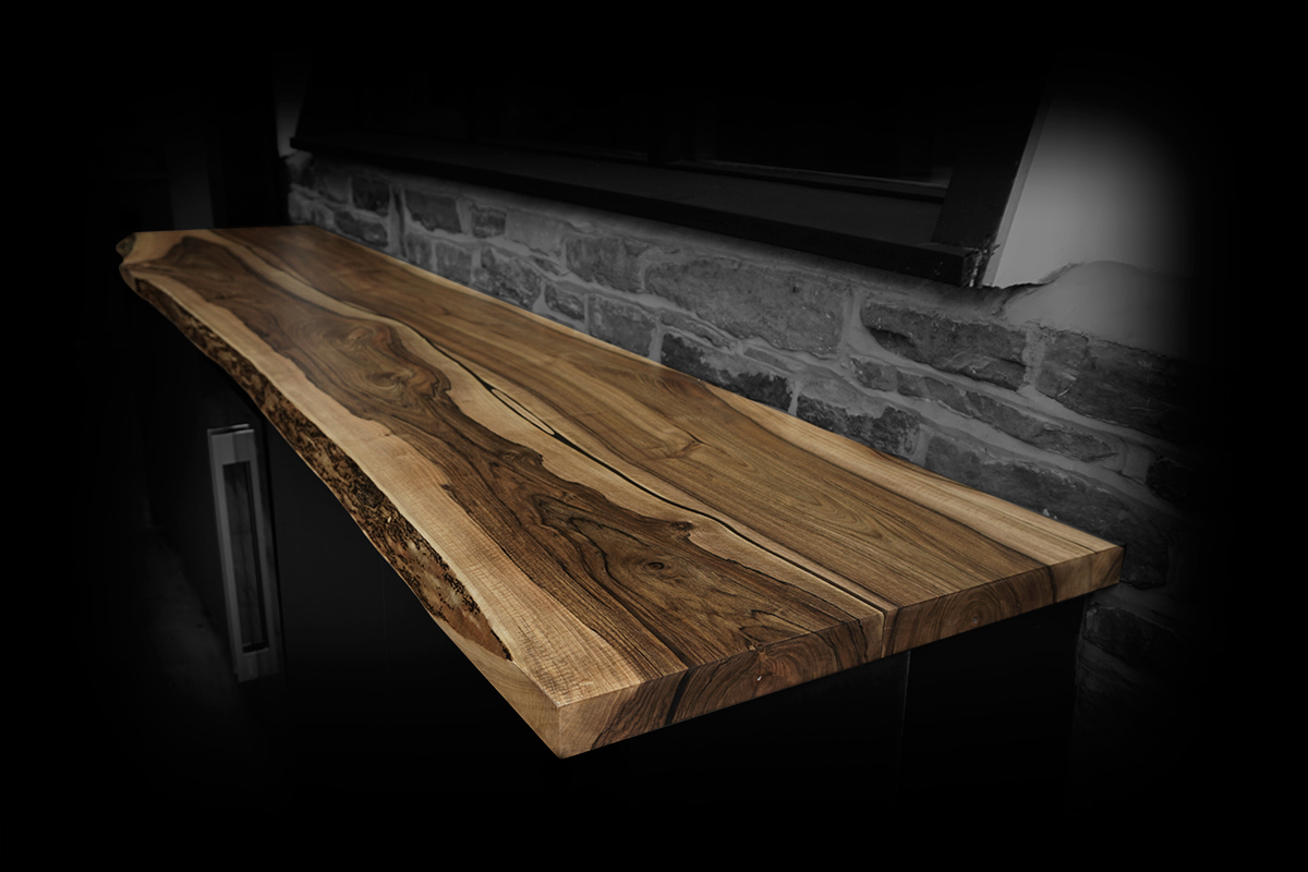 rustic walnut breakfast bar earthy design