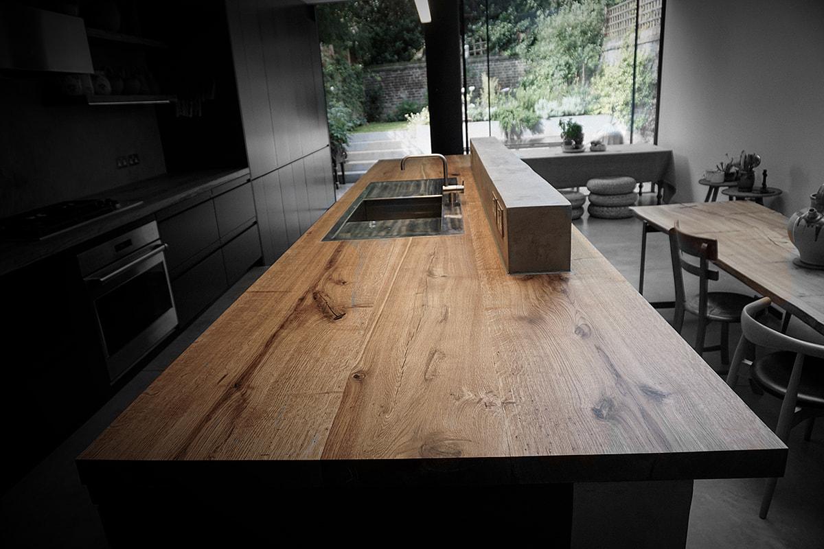 rustic oak premium kitchen island worktop by earthy luxury