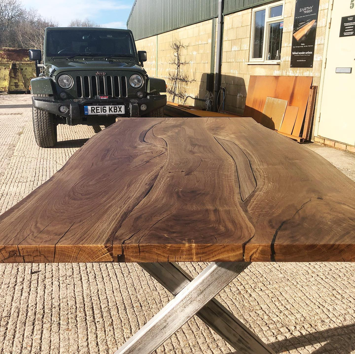 Preparations for delivery, English oak dining table by Earthy Timber