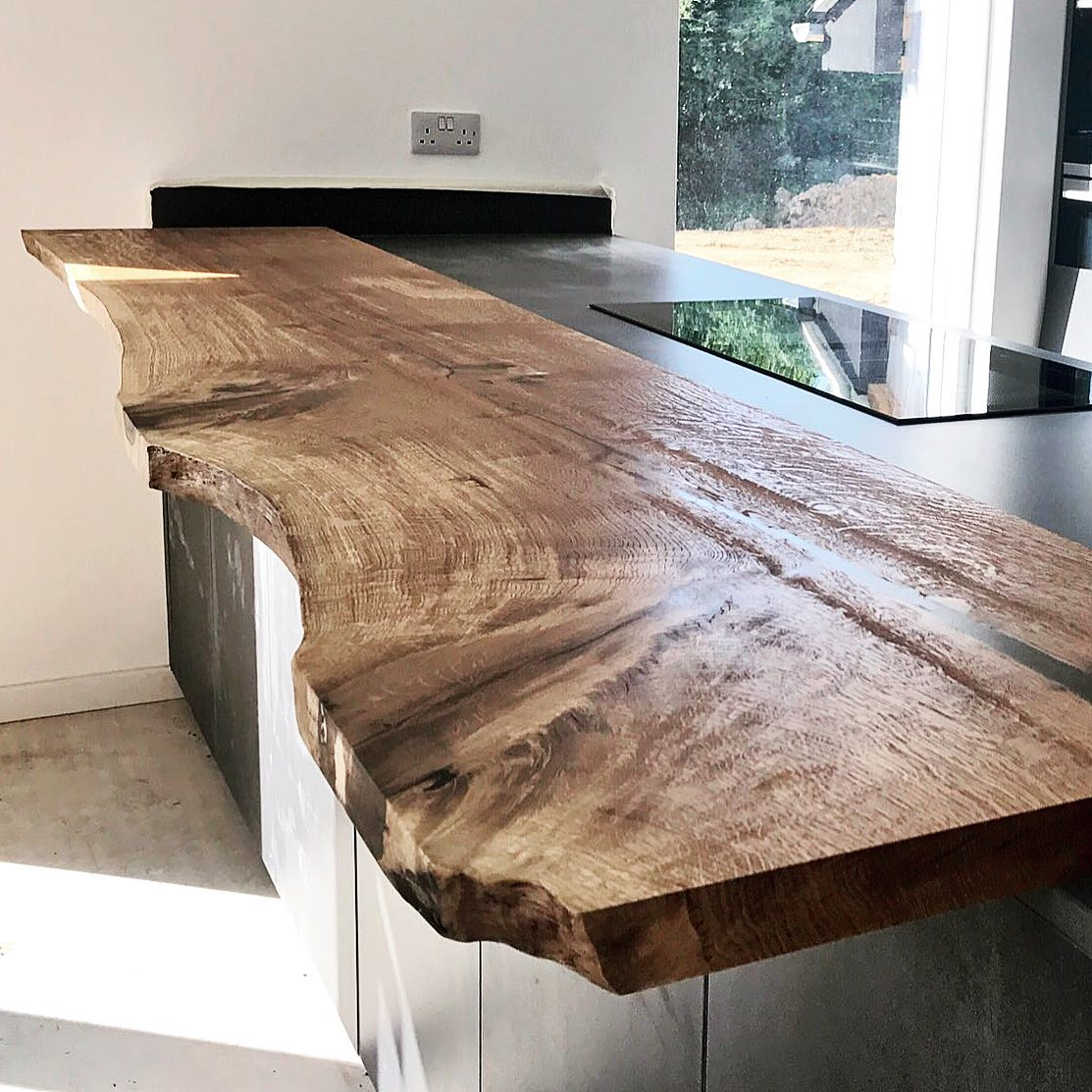 Living Edge Oak Slab Breakfast Bar by Earthy Timber