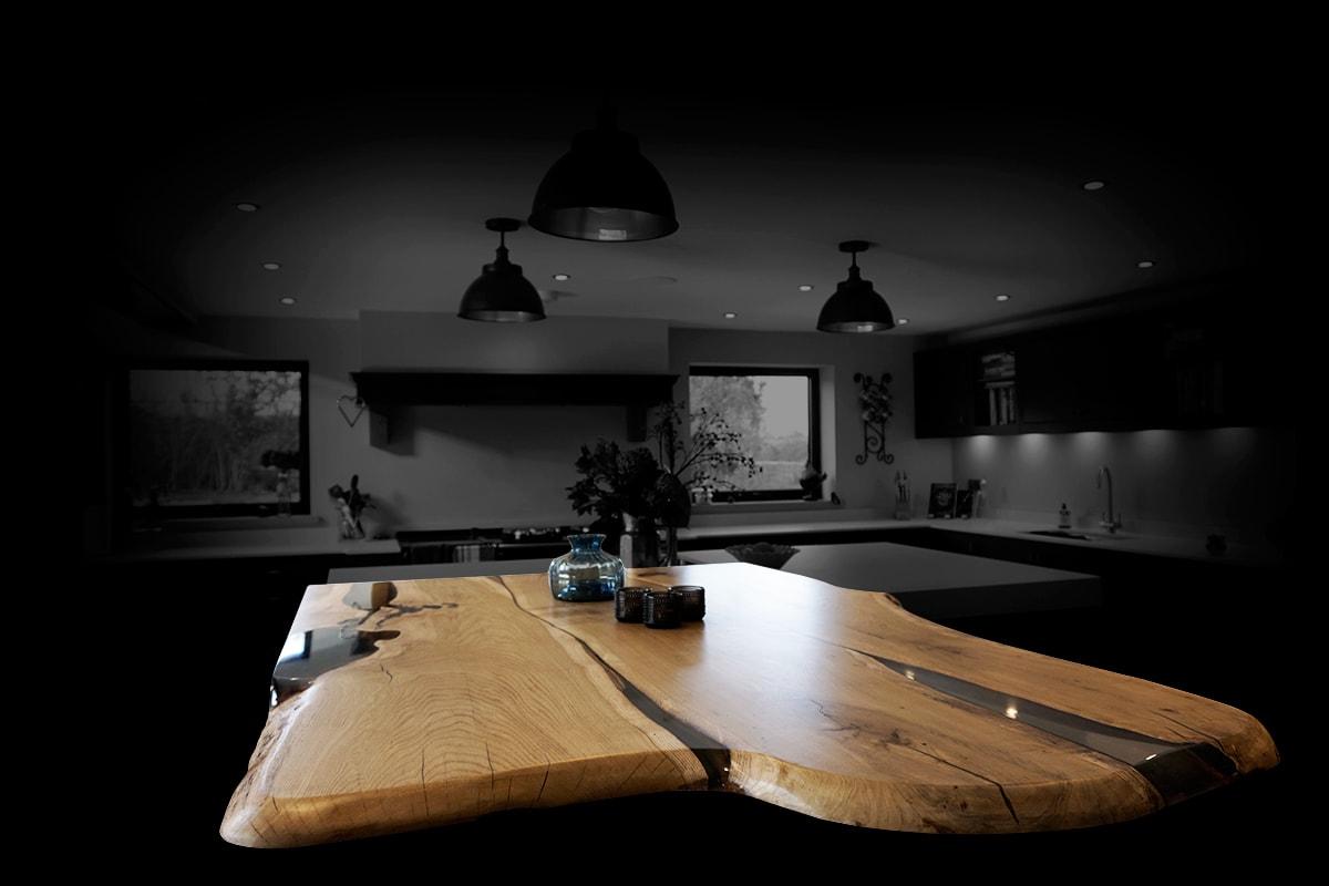 live edge oak breakfast bar island top