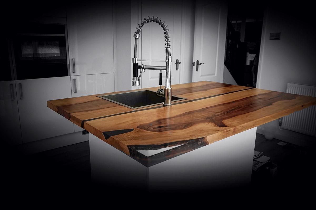 natural wood kitchen island worktop