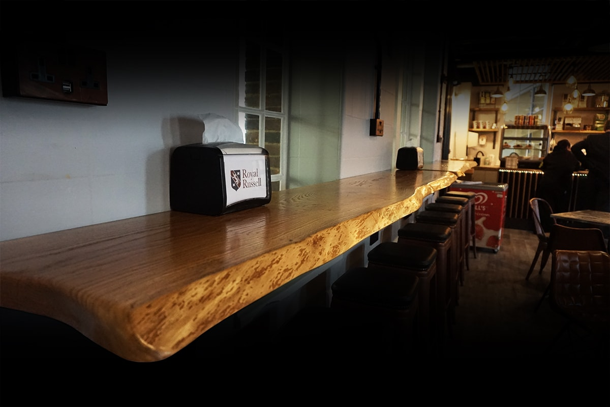 live edge rustic wood bar top